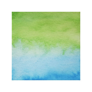 Watercolour Horizons Blue Green Wrapped Canvas