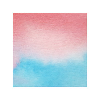 Watercolour Horizons Blue Red Wrapped Canvas
