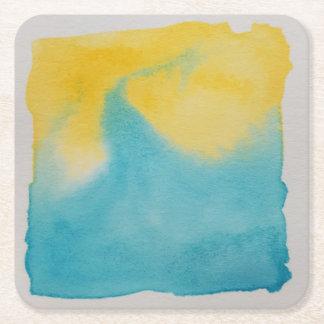 Watercolour Horizons Blue Yellow Coaster
