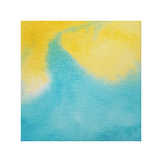 Watercolour Horizons Blue Yellow Wrapped Canvas