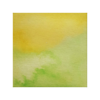 Watercolour Horizons Green Yellow Wrapped Canvas