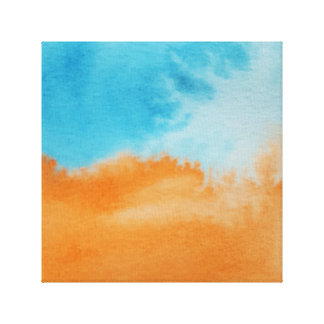 Watercolour Horizons Orange Blue Wrapped Canvas