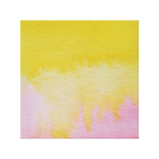 Watercolour Horizons Pink Yellow Wrapped Canvas