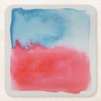Watercolour Horizons Red Blue Coaster