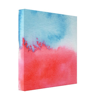 Watercolour Horizons Red Blue Wrapped Canvas