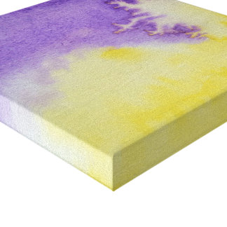 Watercolour Horizons Yellow Purple Wrapped Canvas