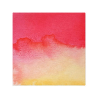 Watercolour Horizons Yellow Red Wrapped Canvas