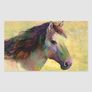 Watercolour Horse Rectangular Sticker
