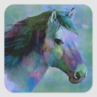 Watercolour Horse Square Sticker
