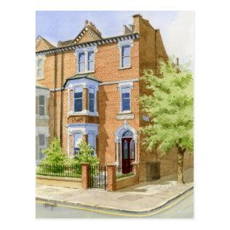 watercolour house portrait postcard