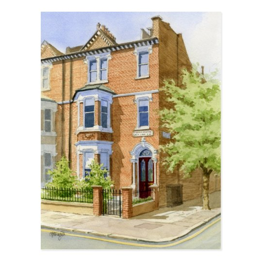 watercolour house portrait postcard