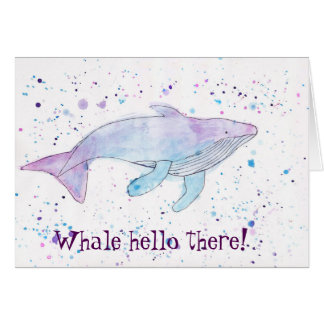 "Watercolour Humpback Whale ""Hello There"" Card"