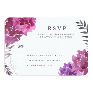 Watercolour Hydrangeas and Botanicals RSVP Card