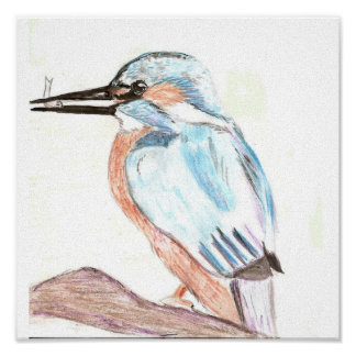 Watercolour Kingfisher Canvas Poster