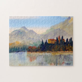 Watercolour Landscape Lake Como Italy Jigsaw Jigsaw Puzzle