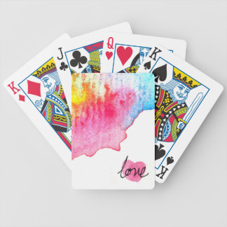 watercolour love bicycle playing cards
