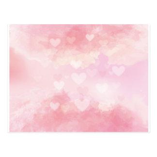 Watercolour Love Hearts Postcard