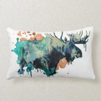 Watercolour Moose Pillowb Lumbar Cushion