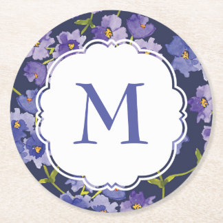 Watercolour Navy Blue Floral Persoanlised Coaster