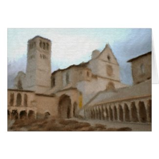 Watercolour of Basilica of St Francis, Assisi Card