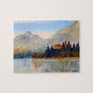 Watercolour of Lake Como Italy Jigsaw Jigsaw Puzzle