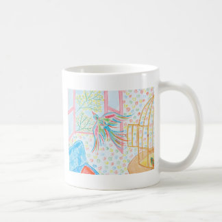 """Watercolour """"open the cage with the birds """" mug"""