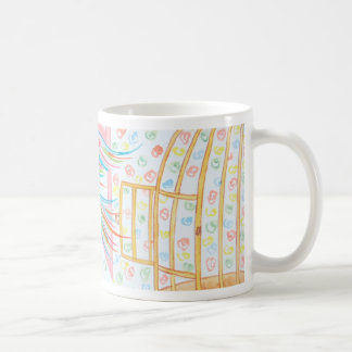 """Watercolour """"open the cage with the birds """" coffee mugs"""