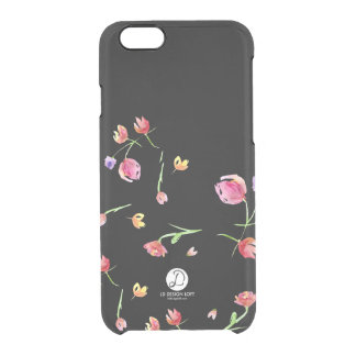 Watercolour painted flower design, tulips on black clear iPhone 6/6S case