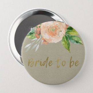 WATERCOLOUR PEACH FLOWER GREEN FOLIAGE BRIDE TO BE 10 CM ROUND BADGE