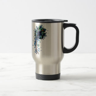 Watercolour peacock feather design stainless steel travel mug