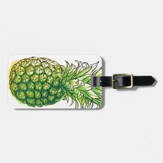 Watercolour pineaple luggage tag