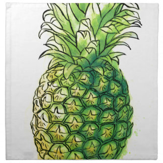 Watercolour pineaple printed napkin
