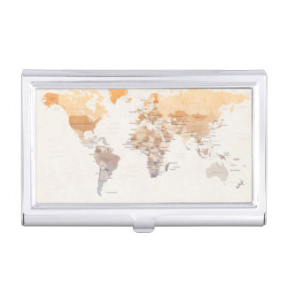 Watercolour Political Map of the World Business Card Holder