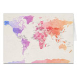Watercolour Political Map of the World Greeting Cards