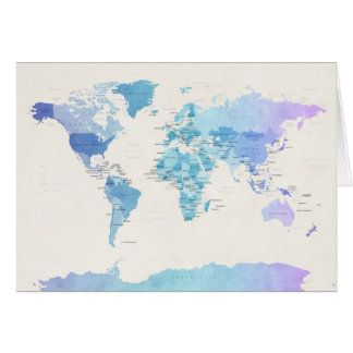 Watercolour Political Map of the World Card