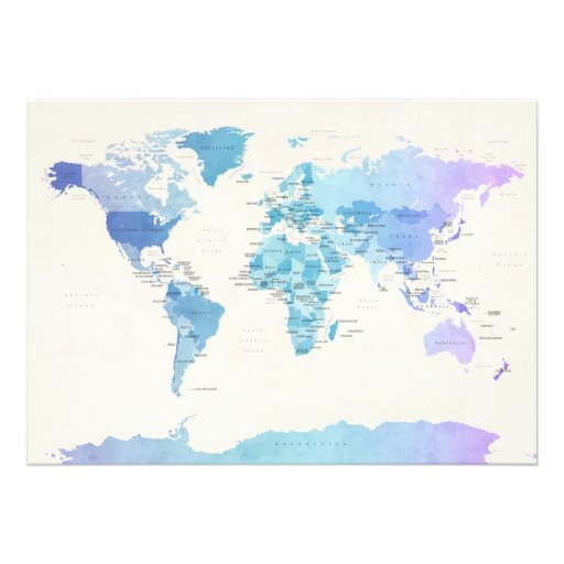 Watercolour Political Map of the World Announcement