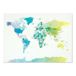 Watercolour Political Map of the World Personalised Invite