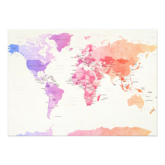 Watercolour Political Map of the World Personalized Invitations