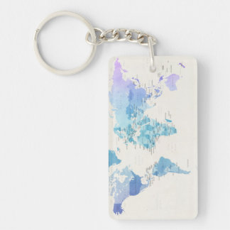 Watercolour Political Map of the World Key Ring
