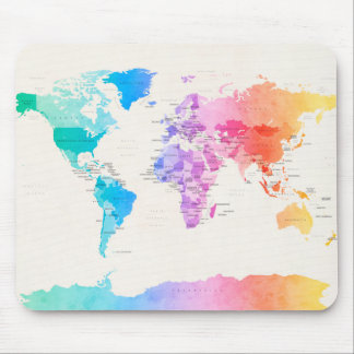 Watercolour Political Map of the World Mouse Mat
