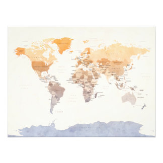 Watercolour Political Map of the World Photo Print