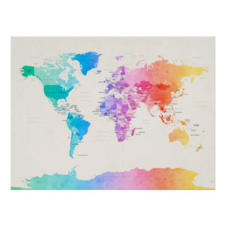 Watercolour Political Map of the World Poster