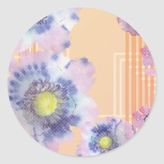 Watercolour Poppies Round Sticker