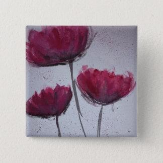 Watercolour Poppy Badge