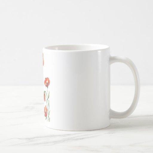 watercolour poppy mug