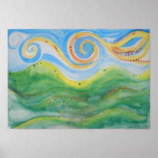 Watercolour Print Swirly Sky Rolling Hills
