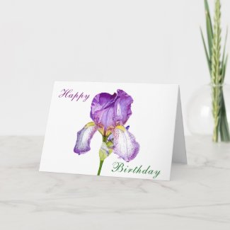 Watercolour Purple Iris Birthday Folded Card
