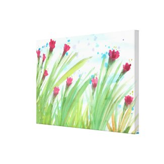 Watercolour Red Floral Canvas Print