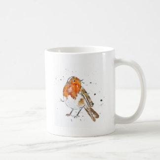 Watercolour Robin Design Basic White Mug