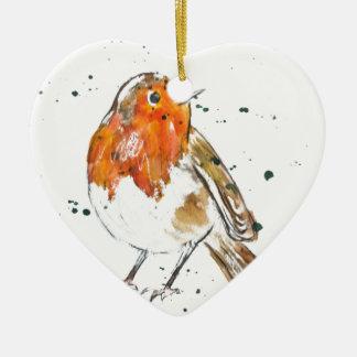 Watercolour Robin Design Christmas Ornament